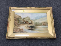 John T. Gallon : River Study with Mountains Beyond, watercolour, signed in pencil, 35 cm x 52 cm, framed.