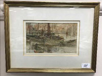 Thomas Swift Hutton, Fishing Boats at Whitby, watercolour, 22cm by 13.5cm, framed