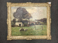 Henry Herbert La Thangue R. A. (1859 - 1929) : Sheep grazing in a paddock, with a hay cart and farm buildings beyond, 62 cm x 75 cm, framed. <BR>** Henry Herbert La Thangue was an English realist rural landscape painter associated with the Newlyn School.