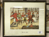 After Harry Neilson : Mr Fox's Hunt Breakfast on Christmas Day, reproduction in colours, 38 cm x 19 cm, together with four further humorous colour prints all depicting foxes, all parts framed. (5)