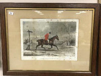 After T. N. H. Walsh : Dodson's Hunting Incidents, hand coloured engraving, 45 cm x 29.5 cm, together with three further engravings from the series, all parts framed. (4)