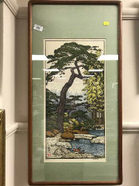 Toshi Yoshida : Pine Tree of the Friendly Garden, hand coloured print, signed in pencil, 27 cm x 52 cm, framed.