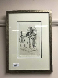 An etching depicting St. Cuthbert's Society, Durham, 13.5 cm x 20 cm, limited edition and signed in pencil,  framed.