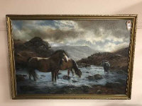 John Trickett : Highland ponies watering, oil on canvas, 90 cm x 60 cm, signed, framed.