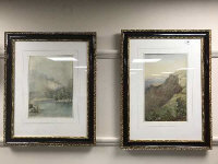 Abraham Hulk : Near Lynton , Devon, watercolour, signed, 38 cm x 25 cm, together with another signed watercolour by the same artist depicting Totnes in Devon, both parts framed. (2)
