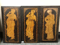 Three Arts and Crafts poker work panels - Echo, Hyceia and Echo, 30 cm x 61 cm. (3)