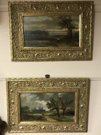 Abraham Hulk : A man out walking in an open country landscape, oil on canvas, signed, 21 cm x 38 cm, together with the companion piece, both parts framed. (2)