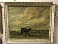 Early 20th century Dutch school : A horse and cart on a sandy beach with figure beyond, oil on canvas, indistinctly signed, 60cm by 75cm, framed.