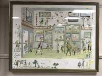 Guillermo Silva Santamaria : Abstract figures in a room, hand coloured print, signed, framed.