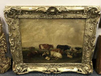 Belgian School : Cattle and sheep on moorland, oil on canvas, 94 cm x 70 cm, in an impressive ornate nineteenth century frame.