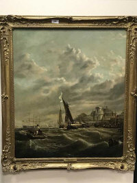 Attributed to W G Knell : boats at high tide, oil on canvas, 62 cm x 73 cm, framed.