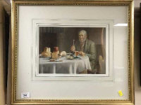 Henry Spernon Tozer : A Gentleman at supper, watercolour, 31 cm x 21 cm, dated 1907, signed.