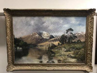John Trickett : Fly fishing in a shallow river with mountains beyond, oil on canvas, 90 cm x 59 cm, signed, framed.