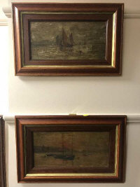 Twentieth century School : Fishing boats, oil on canvas, 34.5 cm x 17 cm, together with the companion piece, both parts framed. (2)