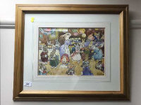 Harry Rowntree : The Rabbits tea party, watercolour, signed, 34 cm x 25 cm, framed.