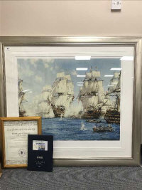 After Montague Dawson : The Battle of Trafalgar, limited edition colour print, produced by Chelsea Green Editions, with certification of authenticity, 93 cm x 80 cm, framed.
