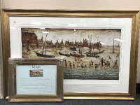 After L. S. Lowry : The Beach, colour print, limited edition, 96 cm x 50 cm, produced by Chelsea Green Editions, with certificate of authenticity,  framed.