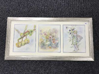 Late Twentieth Century School : Flower Fairy with Prickly Chestnuts, an original illustrator's study in watercolour, 31 cm x 24 cm, together with two similar by the same illustrator both also depicting Flower Fairy subjects, framed overall as one.