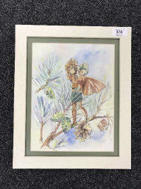 Late Twentieth Century School : Flower Fairy with Acorns, an original illustrator's study in watercolour, 27 cm x 21 cm, framed.