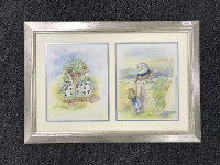 Late Twentieth Century School : Alice in Wonderland, a pair of original illustrator's studies in watercolour, each 31 cm x 24 cm, framed overall as one.