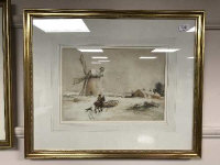 John Atkinson (1863-1924) A man on horseback herding sheep in a winter setting, watercolour, signed, 37cm x 26cm, framed.