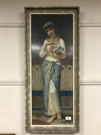 Augustus Bouvier : A Persian maiden holding a bowl of flowers, watercolour, 29 cm x 76, signed, framed.