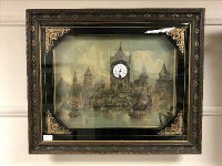 A nineteenth century picture clock in verre eglomise frame