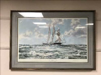 After Montague Dawson : In full sail, reproduction in colours, signed in pencil, 109 cm x 75 cm, framed.