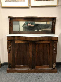 An early Victorian rosewood chiffonier, width 119 cm.