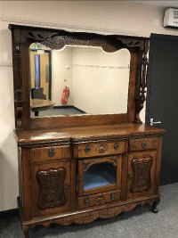 A Victorian mahogany mirror backed sideboard, width 153 cm.