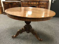 A Victorian mahogany oval breakfast table on tripod base, width 138 cm.