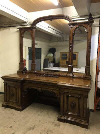 An impressive late Victorian mahogany inverted breakfront mirror backed sideboard, width 256 cm.  (Viewing by appointment please consult a member of staff)