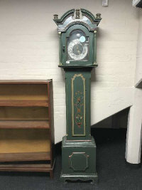 An antique painted long cased clock with silvered dial, height 206 cm