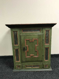 A 19th century painted pine storage cabinet, fitted with three drawers, width 81 cm