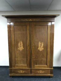 A continental inlaid mahogany double door panel wardrobe, fitted with two drawers, width 164 cm