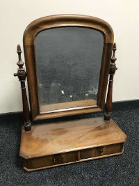 A 19th century mahogany dressing table mirror, fitted with two drawers, width 59 cm