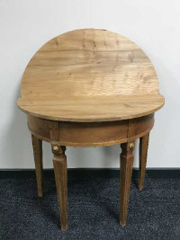 An antique style pine d-shaped folding table, width 83 cm