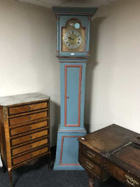 A continental painted long cased clock with brass and silvered dial, the dial dated 1780, height 222 cm