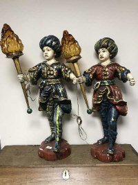 A pair of antique style plaster lamp holders, modelled as jesters, height 76 cm (2)