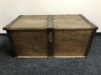 An early 19th century oak metal bound shipping chest, width 112 cm