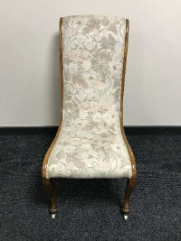A 19th century mahogany bedroom chair, upholstered with two tone peach fabric, width 45 cm