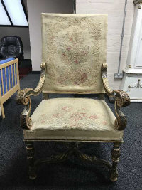 An 18th century style gilded tapestry seated open armchair, width 65 cm