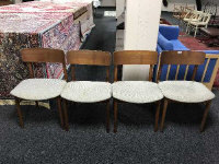 Four mid 20th century Danish teak dining room chairs