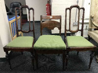 A pair of 19th century continental bedroom chairs, together with an inlaid mahogany dining chair (3)