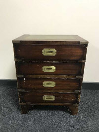 A military style mahogany four drawer chest, with brass handles, width 46 cm
