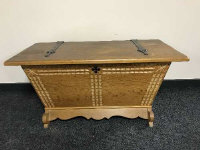 An antique style oak storage box with iron hinges, width 100 cm