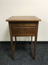 An early 20th century inlaid mahogany bedside table fitted with two drawers, width 47 cm