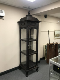 An Anglo Indian four sided display cabinet, with pagoda top, width 65 cm.