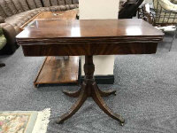 A Regency style mahogany d-shaped card table, width 85 cm.