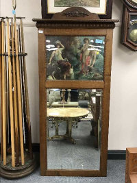 A late Victorian oak framed picture mirror, depicting maidens by a river, 70 cm x 169 cm.